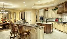 Mediterranean Style House Plan - 5 Beds 6 Baths 6079 Sq/Ft Plan #930-442 - Dreamhomesource.com Kitchens And Bedrooms, Home Kitchens, Monster House Plans, Mediterranean Design, Luxury Homes Dream Houses, Beautiful Kitchens, Kitchen Interior, Architecture Design, Floor Plans