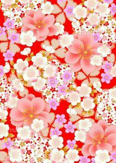 Japanese Textiles, Japanese Prints, Japanese Fabric, Japanese Art, Flower Background Wallpaper, Flower Backgrounds, Wallpaper Backgrounds, Wallpapers, Chinese Patterns