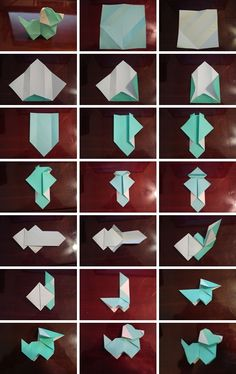 how to fold Origami paper puppy dog step by step DIY tutorial instructions