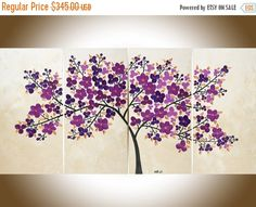 Large wall art canvas art purple flowers painting copper art