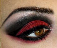great red smokey halloween make up
