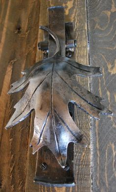Hand forged steel oak leaf door knocker