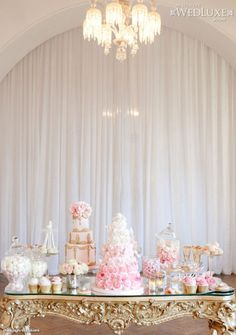 Love this styled shoot featured in WedLuxe: This styled shoot inspired by Marie Antoinette is filled with pretty pink #wedding ideas (photo by: Krishanthi, #cakes and sweet table by: Elizabeth's Cake Emporium)