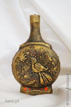 Декор предметов Аппликация из скрученных жгутиков Лепка Золотоя хохлома;  Бутылки стеклянные Нитки Тесто соленое фото 1