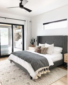 A modern take on traditional, this eye-catching grey tufted headboard is the sta. - A modern take on traditional, this eye-catching grey tufted headboard is the star of the show. Cozy Bedroom, White Bedroom, Home Decor Bedroom, Bedroom Furniture, Bedroom Romantic, Bedroom Curtains, Bedroom Green, Budget Bedroom, Bedroom Plants