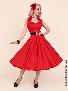 1940s-1950s-Vivien-of-Holloway-Best-Vintage-Reproduction-Halterneck-Circle-Dress-Red-Sateen
