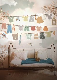 For a laundry room, natch! Little Hands Wallpaper Mural - Drying Clothes Girl Room, Girls Bedroom, Child's Room, Childrens Bedroom Wallpaper, Little Hands Wallpaper, Casa Kids, Deco Kids, Kids Decor, Home Decor