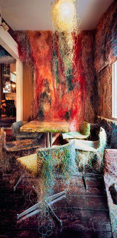 An outstandingly unusual bar; Tetchan Yakitori Bar, Tokyo, Japan designed by Kengo Kuma Kengo Kuma, Odile Decq, Tokyo Restaurant, Wire Cover, Cable Cover, Ways To Recycle, Japan Design, Tokyo Japan, New Builds