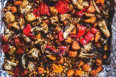 Moroccan Roast Veg w/ Chickpeas + Quick-Pickled Raisins