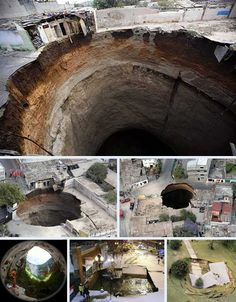 NATURAL:Sinkholes, are a scary phenomena. Over time water erodes the soil under the planets surface until it gives away and collapses into the earth, they can be hundreds of feet deep, and have consumed city blocks, sidewalks and buildings