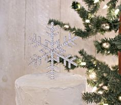 Snowflake Cake Topper Decorated with Swarovski by InitialMoments