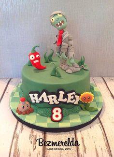 Plants Vs Zombies cake - Made by Bezmerelda Zombie Birthday Cakes, Zombie Birthday Parties, 9th Birthday, Zombie Themed Party, Zombies Vs, Plantas Versus Zombies, Sugar Art, How To Make Cake, Fondant