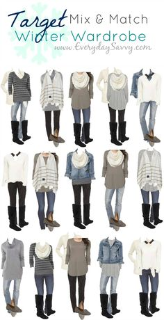 Mix and Match Target Winter Outfits. This Target capsule wardrobe makes it so ea… Mix and Match Target Winter Outfits. This Target capsule wardrobe makes it so easy to look pulled together. I love the blue, black and gray combinations. Mode Outfits, Casual Outfits, Fashion Outfits, Womens Fashion, Fashion Tips, Kohls Outfits, Target Outfits, Target Clothes, Women's Clothes