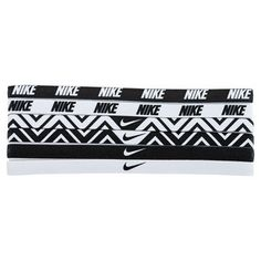 Keep stray hairs out of your face with thenbspNikenbspPrinted Assorted Headbands These stylishly designed elastic bands include an interior silicone grip for serious staying power These headbands comes in a variety of patterns and designs so that you can mix and match with your favorite Nike outfit Complete your headtotoe look and increase your ability to stay focused on the gameFabricnbsp60 Nylon  32 Polyester  8 SpandexColor Black  WhitenbspOne size fits most