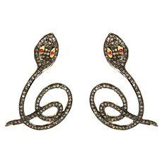 14k Yellow Gold Ruby Gemstone Diamond Pave Snake Stud Earrings Handmade Silver #Handmade