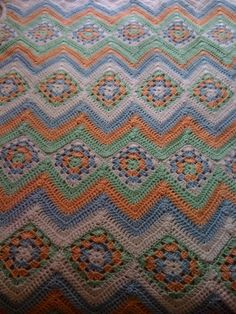 Granny Stripes Baby Blanket by dianawp, via Flickr