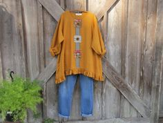 linen blouse top tunic in sunny gold with multi linen patches and vintage buttons ready to ship