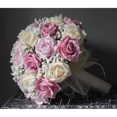 Bridal Bouquet - Sophie - Artificial Rose with Lots Of Gypsophila - Choose Any Rose colour combination - Shown in pinks and cornsilk roses Pink Wedding Theme, Rose Wedding, Uk Bride, Pink Color Schemes, Purple Baby, Gypsophila, Bride Bouquets, Bridal Flowers, Rose Design