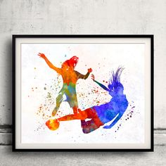 Women soccer players 02 - Fine Art Print Glicee Poster Home Watercolor sports Gift Room Children's Illustration Wall - SKU 2298 by Paulrommer on Etsy
