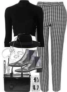 Outfit for day to night by ferned featuring leather booties Again 3 4 sleeve top, 180 AUD / Topshop cigarette pants, 100 AUD / Acne Studios leather booties, 240 AUD / Yves Saint Laurent duffle bag, 2 710 AUD / Monica Vinader bracelet, 325 AUD / MANGO...