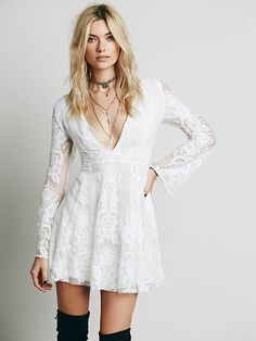 "Free People Reign Over Me Lace Dress worn by Brittany during the reception in Glee's ""A Wedding"" episode. #glee #wedding"