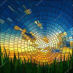 İndir - Günbatımı çim vektör çizim — Stok İllüstrasyon #19689139