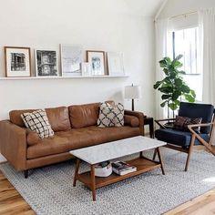 Boho Living Room, Living Room Interior, Living Room Decor, Tan Sofa Living Room Ideas, Midcentury Modern Living Room, Brown Leather Couch Living Room, Leather Couches, Brown Couch, Small Couches Living Room