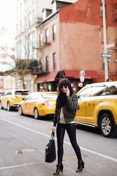 New Darlings - An Afternoon in SoHo - Aritzia Winter Looks - Leather Leggings, Sweater and Bomber Jacket