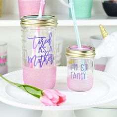 Tired As A Mother Glitter Tumbler // Funny Mom Tumbler // Glitter Dipped Tumbler // Mom Gift // Wife Gift // Glass Travel Mug Mason Jar Glasses, Mason Jar Cups, Mason Jar Tumbler, Kids Tumbler, Glitter Mason Jars, Glitter Cups, Tumbler Cups, Mother's Day Mugs, Plastic Tumblers
