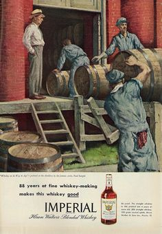 "1946 Illustrated Ad, Hiram Walker's Imperial Whiskey, ""Whiskey on Its Way to Age"" by Artist Paul Sample"