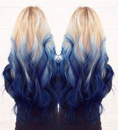 Full head #613 Royalty – Royal Blue Ombre 100% human hair Straight Dip Dye Clip In extensions Hair styles