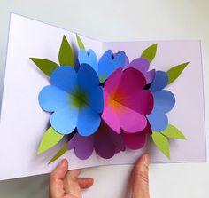 Basteln mit papier diy blumen pop up karten 3d diy geschenke zum mmmcrafts made it ms pop up flower card mightylinksfo