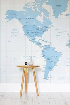 Blue And White Detailed World Map Wall Mural