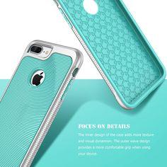 SGM Premium Hybrid [Dual Layer] Armor Case Cover For Apple iPhone 7 Plus [Advanced Anti-Slip Design] [Shock Proof] (Mint + Silver)