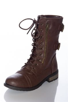 Strapping Style Lace Up Combat Boots - Brown from Boots at Lucky 21 Lucky 21