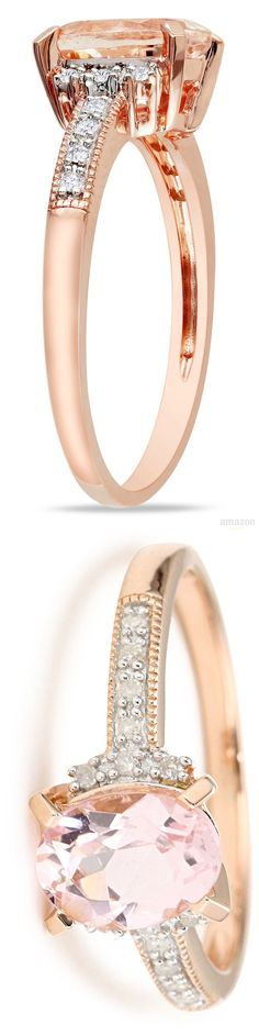 Rose Gold Plated Sterling Silver Morganite and Diamond Ring: