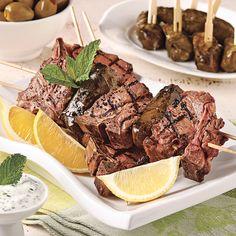 Brochettes d'agneau à la grecque sur le barbecue - Les recettes de Caty