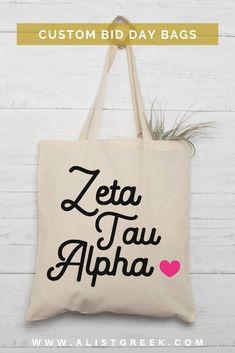 Shop all bid day bundles, gifts and custom products at www.alistgreek.com! #biddaybags #bidday #tote #gifts #bundle #newmembers #custom #personalized #zta #zeta #zetataualpha