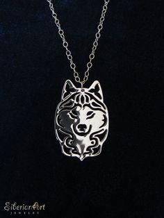 siberian husky necklace  sterling silver by SiberianArtJewelry, $99.00