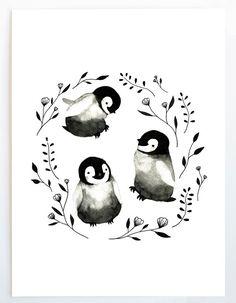 Lámina bebé pingüinos acuarela Ilustración por BethanyEdenArt