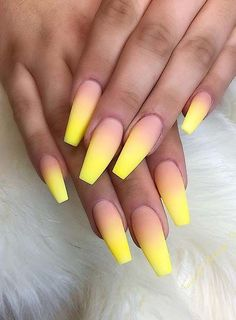 nails yellow and black ; nails yellow and gray ; nails yellow and white ; nails yellow and blue Yellow Nails Design, Yellow Nail Art, Neon Yellow Nails, Orange Ombre Nails, Summer Acrylic Nails, Best Acrylic Nails, Nail Summer, Bright Nails For Summer, Acrylic Nail Designs For Summer