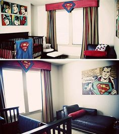 For the future baby boy Kent! Superhero bedroom ideas for little boy. So darn cute!