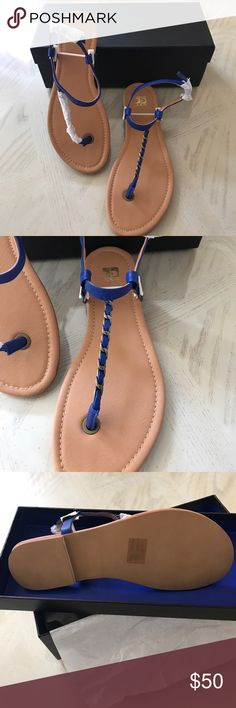 Joe's Jeans Eleanor Sandals in Cobalt Blue 7.5 Leather Upper with Rubber Sole, Buckle Closure, T-Strap detail with chain accent, Manufacturer style R1556. Color is Cobalt Blue, in Size 7.5, Brand New! Joe's Jeans Shoes Sandals