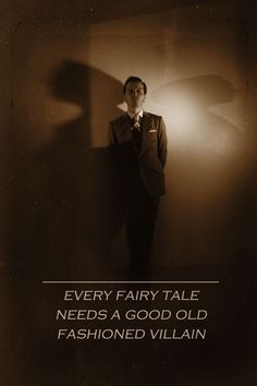 "Moriarty. ""Every fairy tale needs a good old fashioned villain."" Is it just me or does the double shadow effect give the look of Wings?  A dark angel, perhaps?"