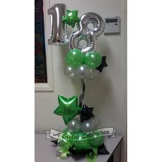 Long lasting air filled balloon arrangement ideal for buffet or cake table. Not suitable for shipping. Available for local Hervey Bay/Maryborough area delivery orders only. Available in a range of colours, all with silver numbers. #18thbirthday #limegreen #black #silver #stars #topiary #balloonarrangement #airfilledballoons #buffetdecoration #tablecentrepiece  www.astylishcelebration.com.au