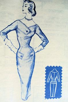 1950s SIZZLING SLIM BUSINESS DRESS PATTERN FABULOUS FIGURE HUGGING DESIGN MODES ROYALE 124