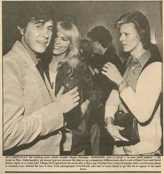 Amanda Lear (60's model, groupie, 70's disco diva, actress, artist Dali's muse) with past boyfriend David Bowie, & future boyfriend Bryan Ferry. 1974. The AbFab character Patsy is based on her.