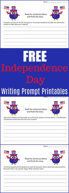 Free Independence Day Writing Prompt Printables - 4th of July Writing Prompt Printable Pack -  #writing #writingprompt #holiday #printable #freeprintable #education #edchat #homeschool #homeschooling #independenceday #fourthofjuly