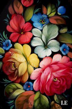 """Zhostovo tray """"Flower garden"""""""