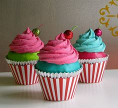 """Fake Cupcake """"Under The Big Top"""" Collection Hot Pink Frosting Turquoise Cake Can Add Name Card Holder, Business Card Holder/Photo Holder. $10.50, via Etsy."""